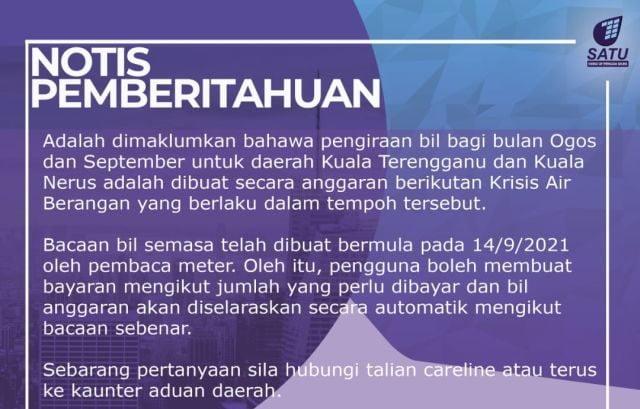 Rakyat Terengganu terkejut kena bayar bil air selepas 2 bulan krisis